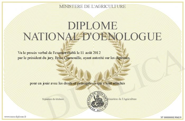 Le métier d'œnologue est protégé par un diplôme national d'État